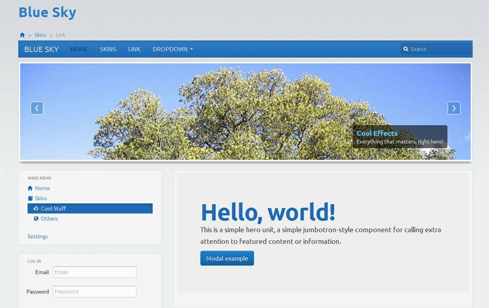 Blue Sky - Bootstrap Responsive Skin