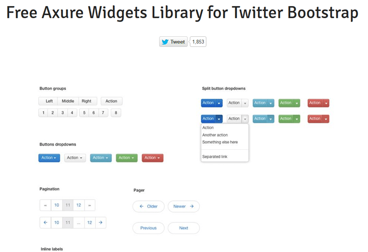 Free Twitter Bootstrap Widgets Library for Axure RP