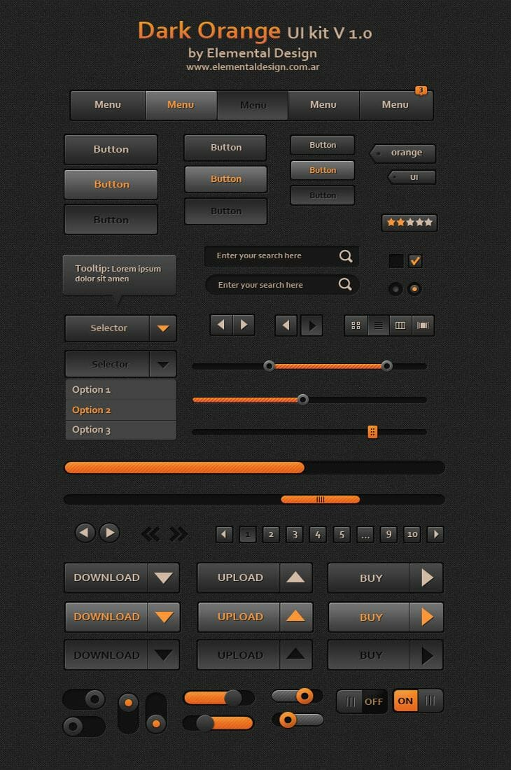 Dark Orange UI Kit v1.0