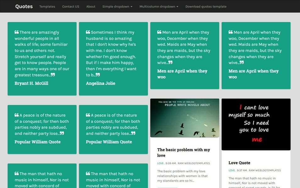 Quotes - Free Responsive Masonry Blogger Template