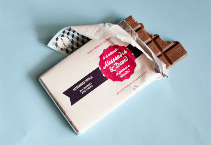 Wedding invitations on chocolate bars
