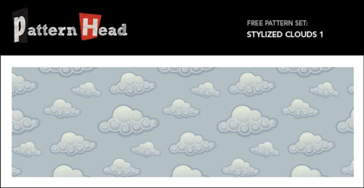 Free Vector and Pixel Pattern – Stylized Clouds 1
