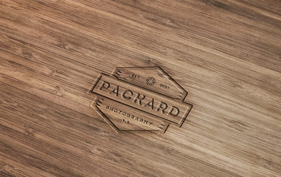 Wood Engraved Logo Mockup with Photoshop