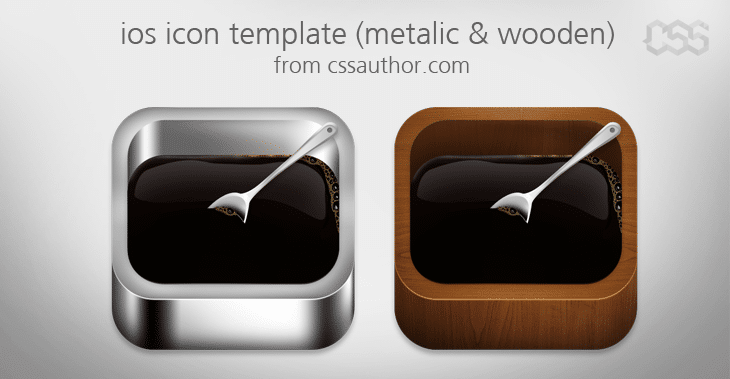 Beautiful ios Apple Icon Template Metalic and Wooden PSD - cssauthor.com