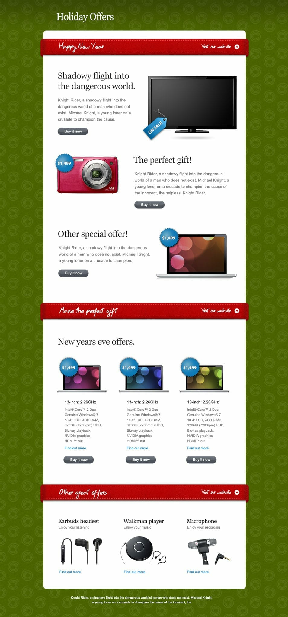 Attractive Holiday Offers Newsletter PSD