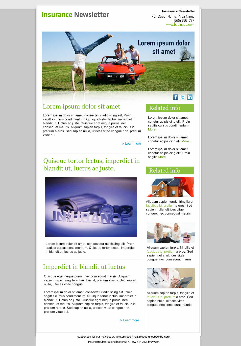 Insurance Company: Free PSD Email Newsletter Template