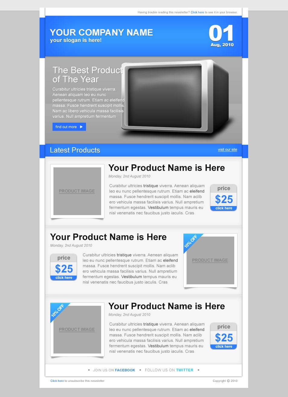 e-Commerce Newsletter – PSD Template