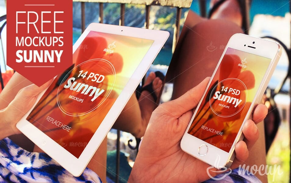Free iPad and iPhone MockUps Sunny