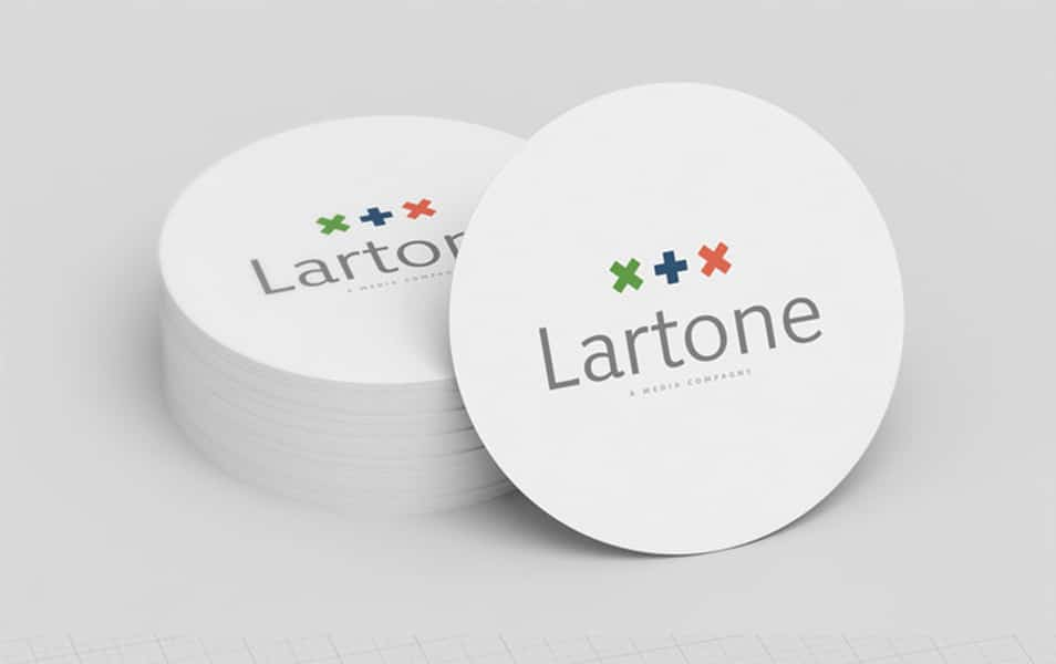 Round Business Card Mockup
