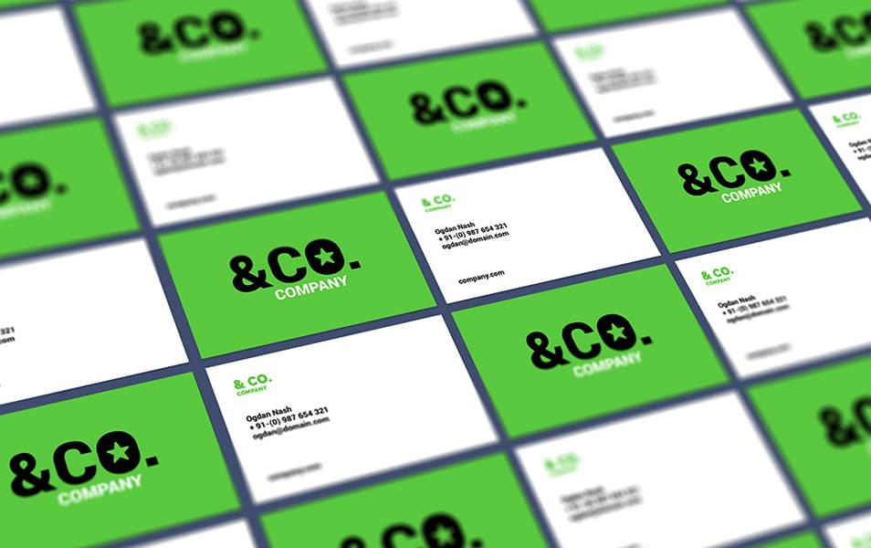 Tiled Perspective Business Card Mockup