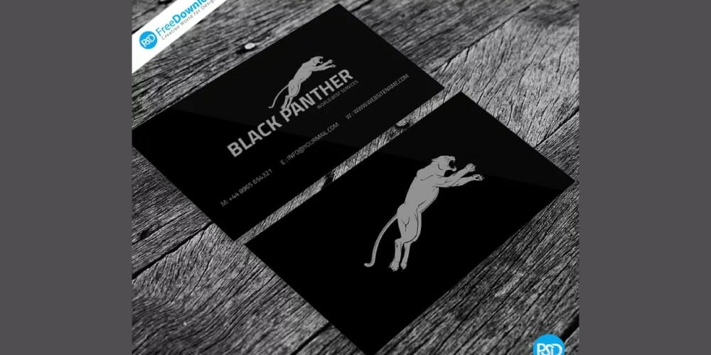 Black Business Card Template PSD