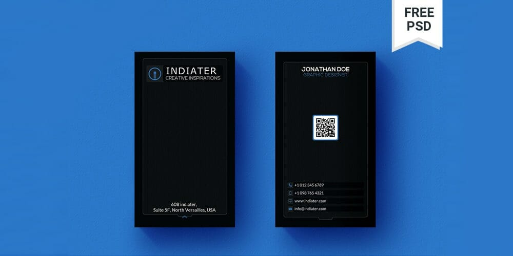100 free business cards psd the best of free business cards black minimal vertical qr code business card psd fbccfo Image collections