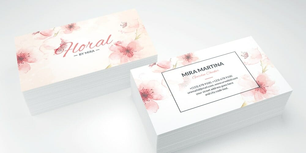 Clean Floral Business Card PSD