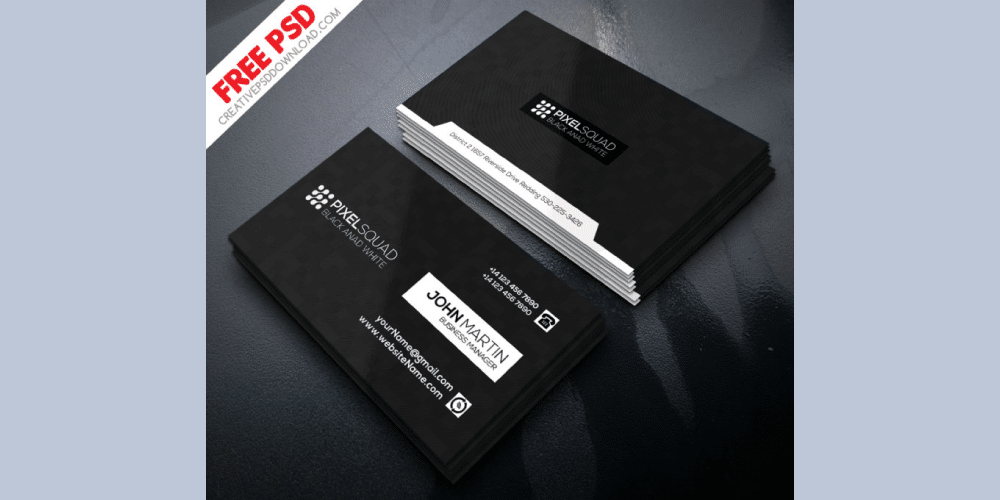 Corporate Black And White Business Card PSD