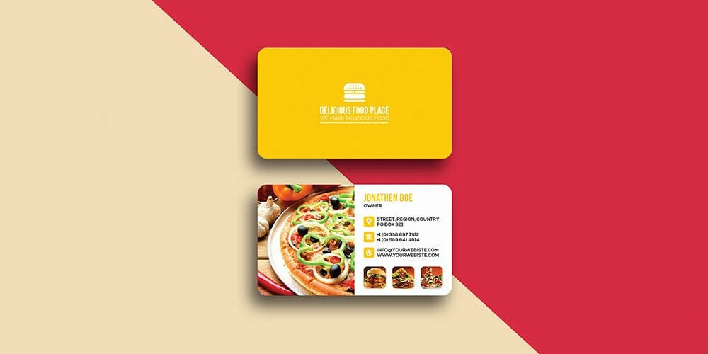 Delicious Food Business Card Template PSD