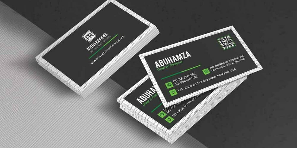 Free Black And Green Corporate Business Card PSD