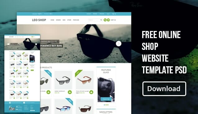free online shop website template psd css author