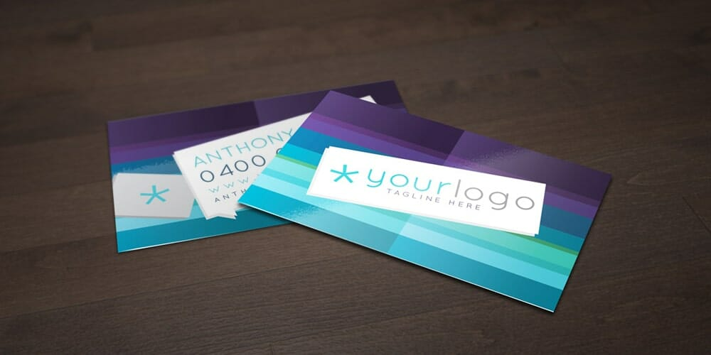 Free Purple and blue Business Card Vector Template