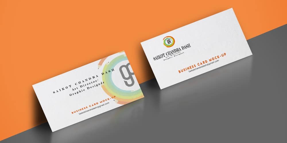 Horizontal Edge Painted Business Card Mockup PSD
