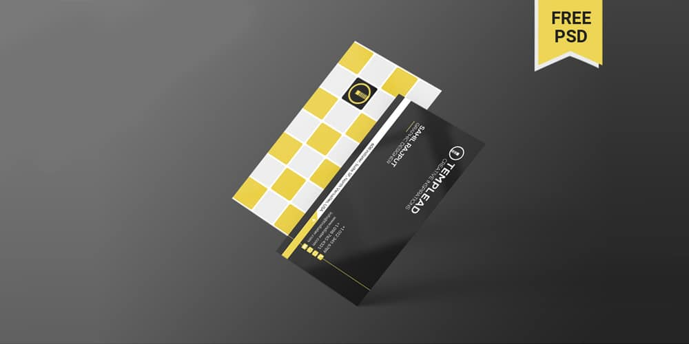 Minimal Black Yellow Individual Business Card PSD