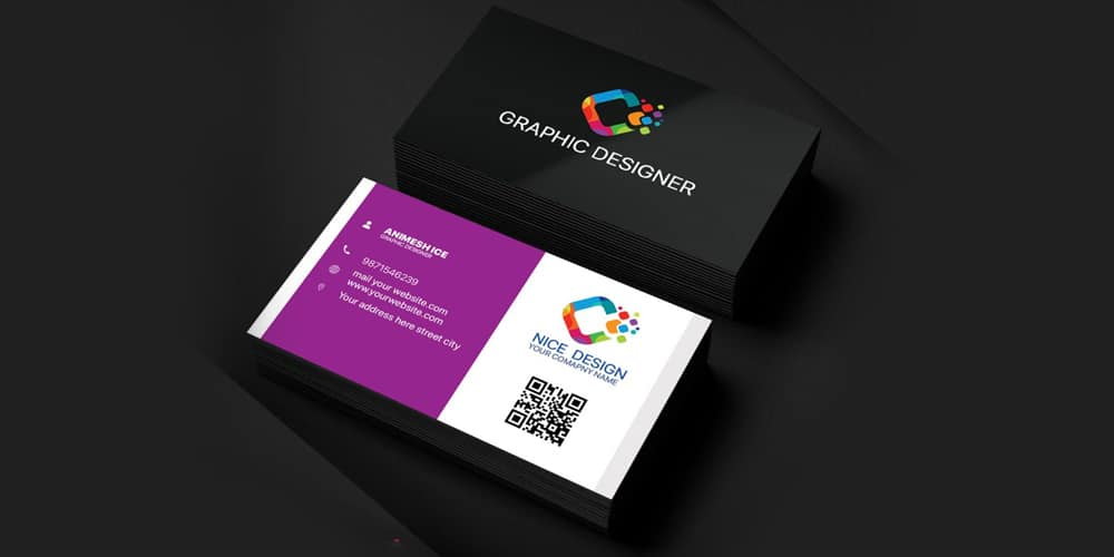 Nice Graphic Designer Business Card Template PSD
