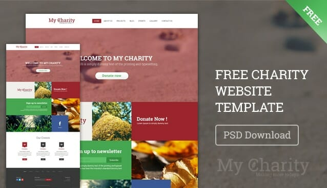 charity website template psd free web templates css author