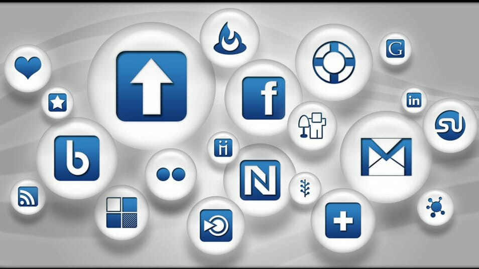 108 Blue and White Pearl Social Bookmarking Icons