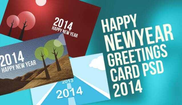 2014 new year greeting cards psd