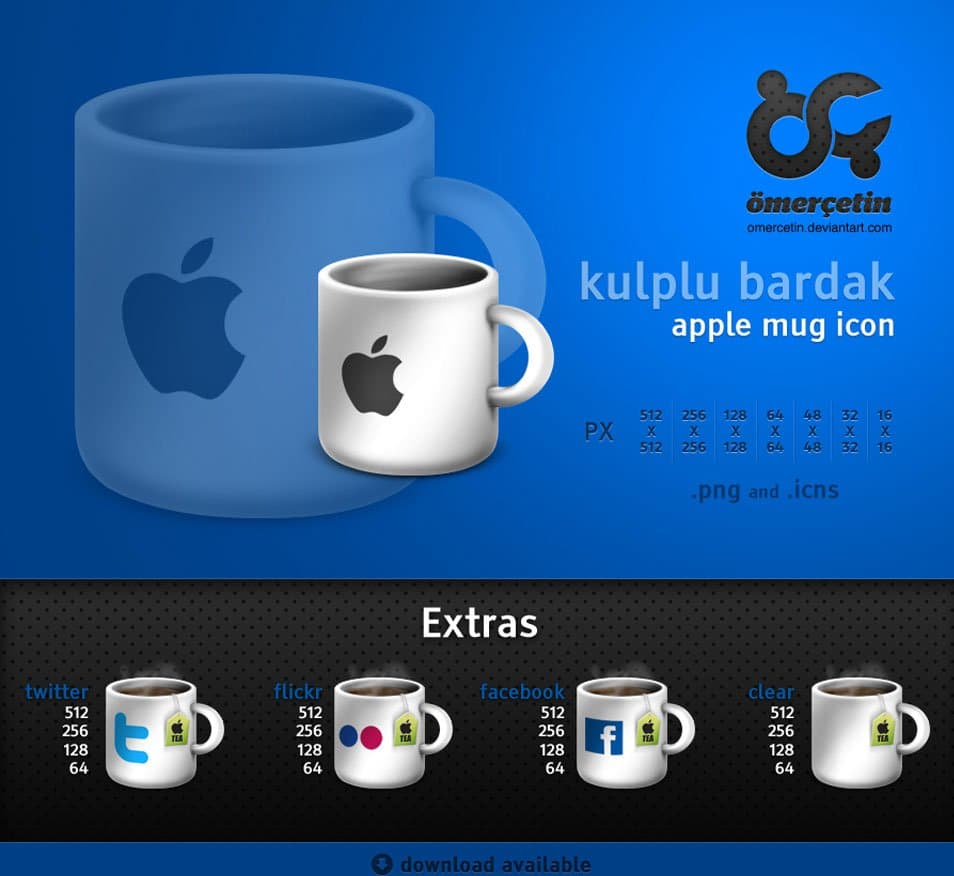 Apple Mug Social Media Icon Set