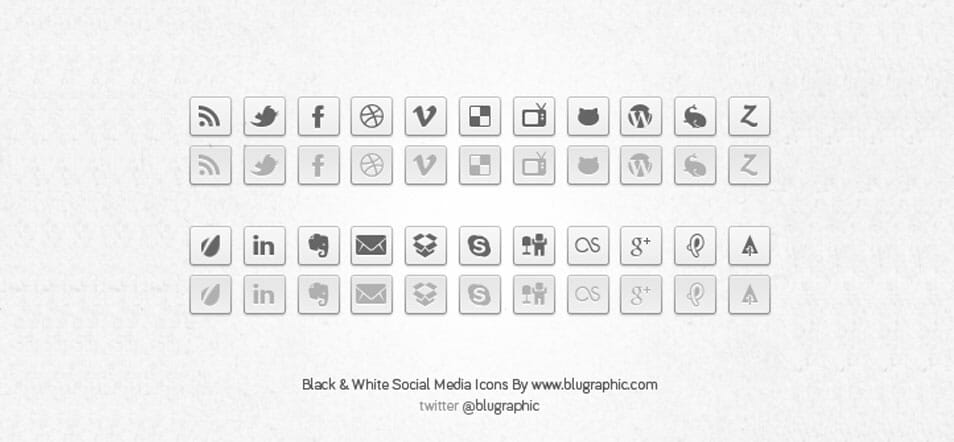 Black & White Social Network Buttons (Psd)