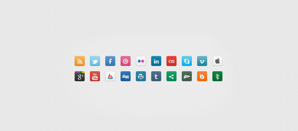 DC Social Icons – Set of 20 Clean Icons