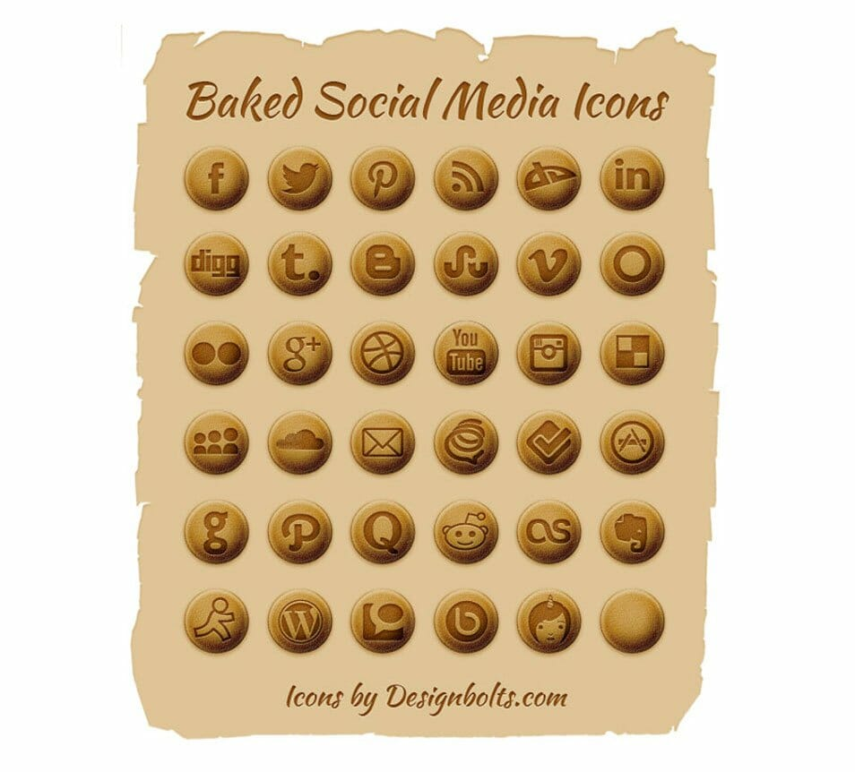 Free Baked Social Media Icons (PNGs & PSD File)