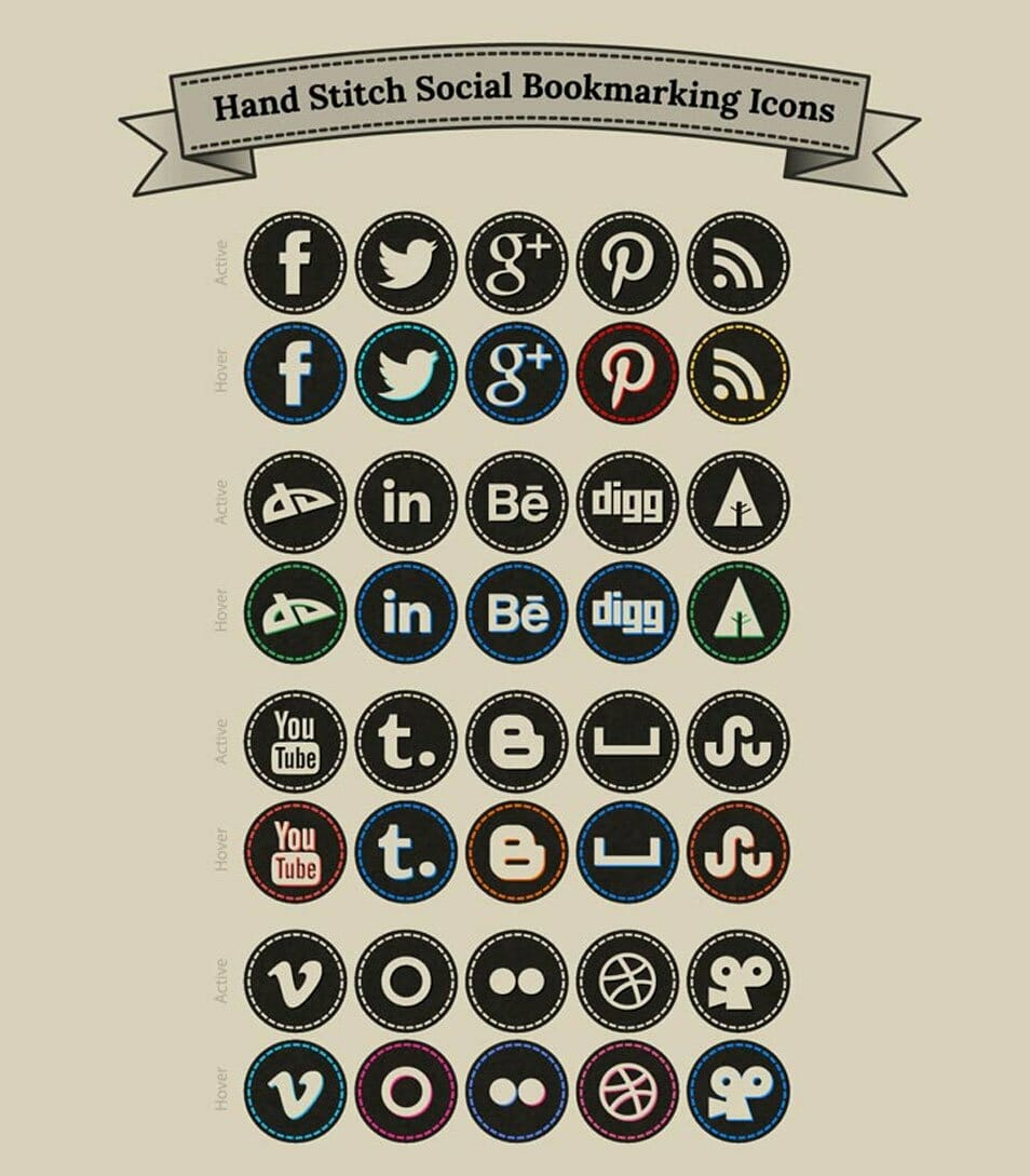 Free Hand Stitch Social Bookmarking Icons Set