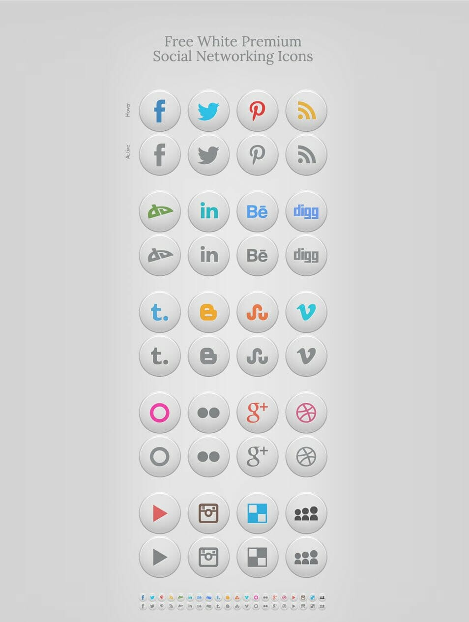 Free White Premium Social Networking Icons