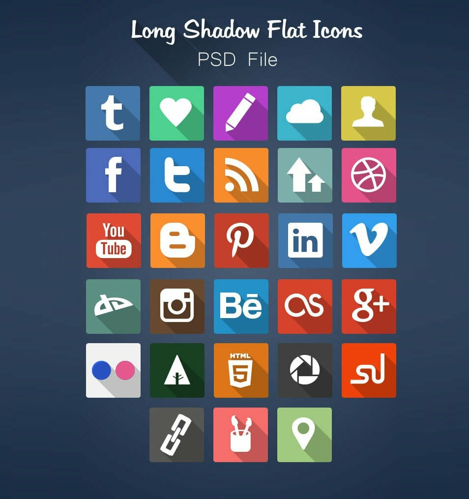 Long Shadow Flat Icon Set Free PSD
