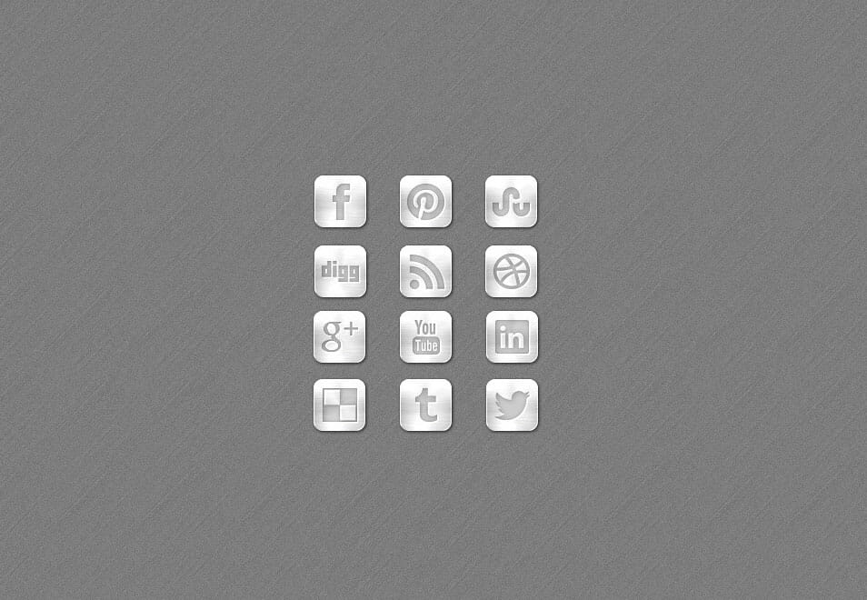 Metal Social Media Free Icon Set