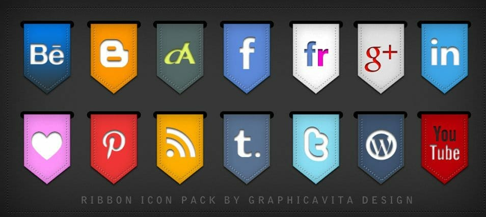 Ribbon Social Icon Set