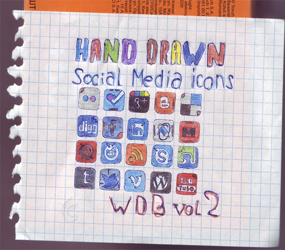 Set of 20 Hand Drawn Social Media Icons
