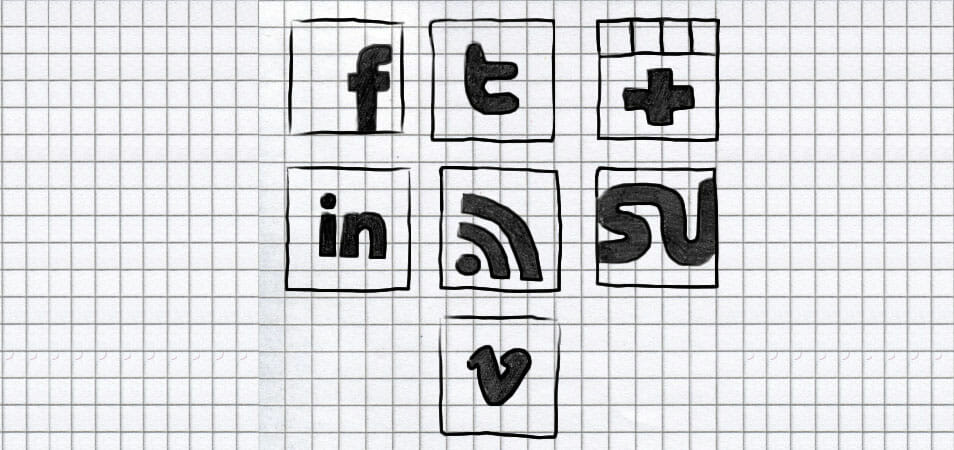 Set of hand-drawn black social icons