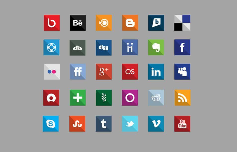 Square: 30 Flat Design Social Media Icons