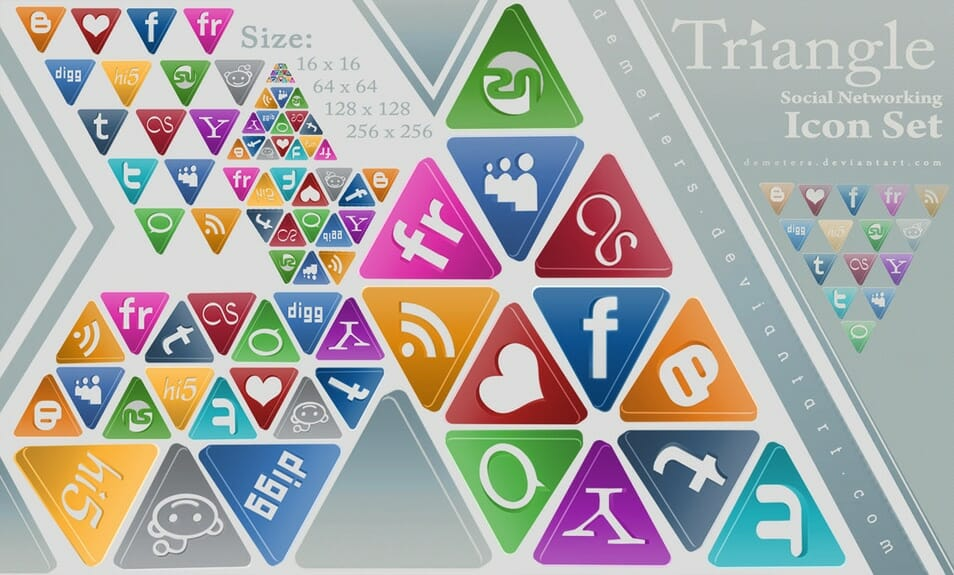 Triangle Social Networking Icon Pack