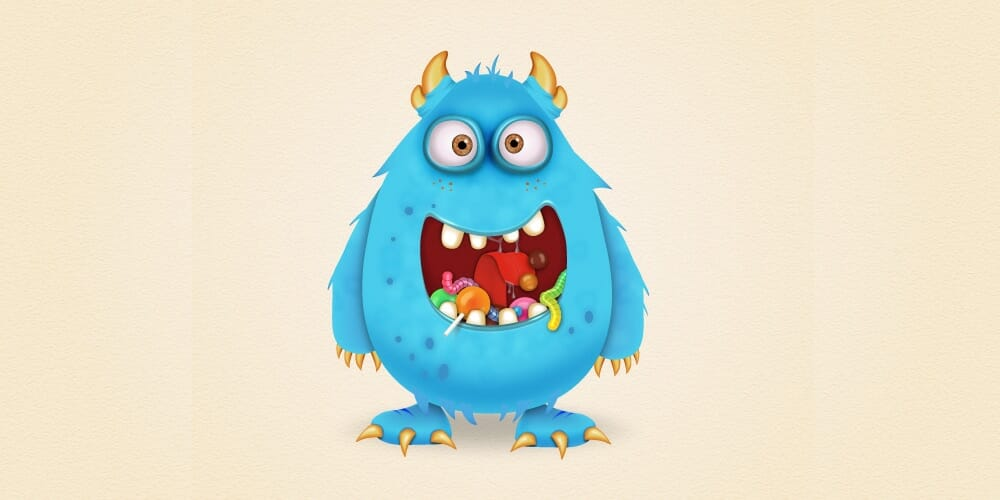 Candy Monster Character in Adobe Illustrator