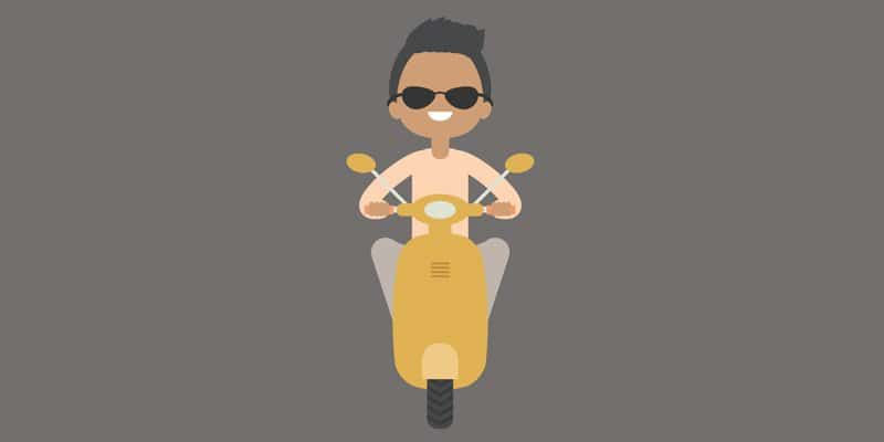 Create an Illustration of a Boy on a Scooter
