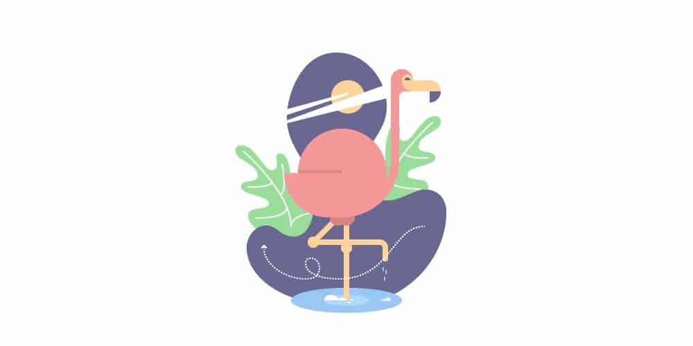 Geometric Flamingo Bird