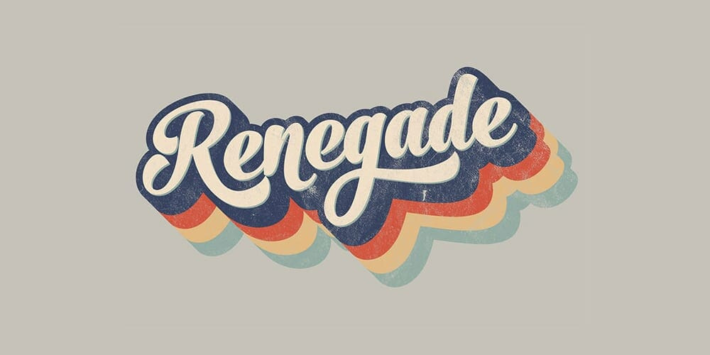 Retro 70s Style Striped Logo Type Effect