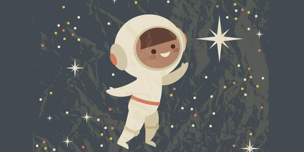 Retro Poster With an Astronaut Child