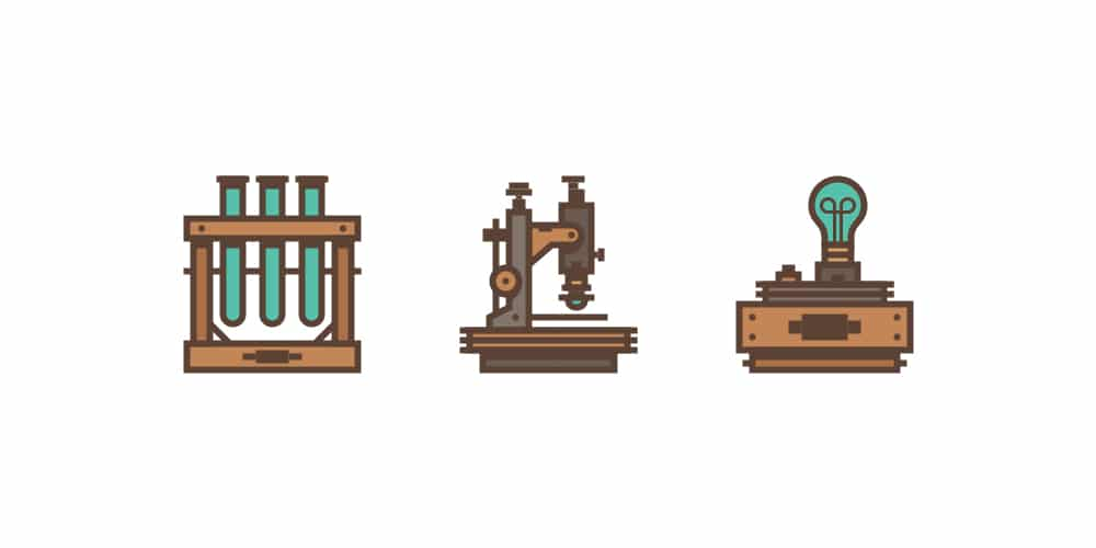 Retro Science-Themed Icon