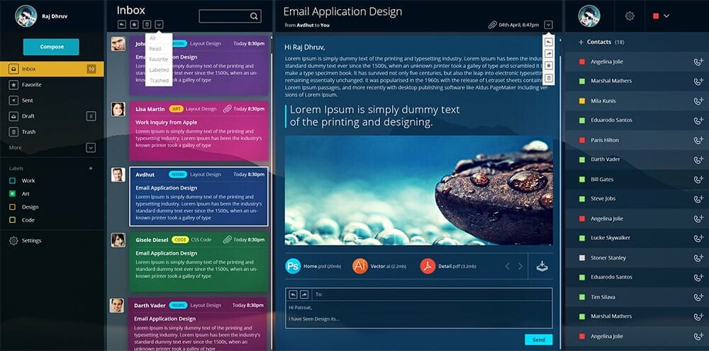 Free Email Dashboard UI PSD