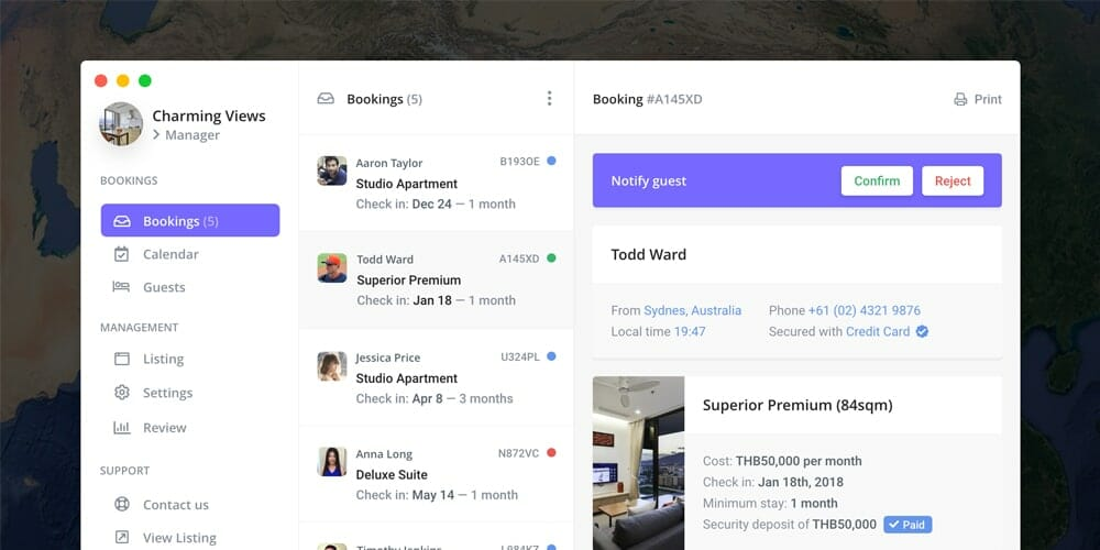 Nomad Rental Hotel Admin Template