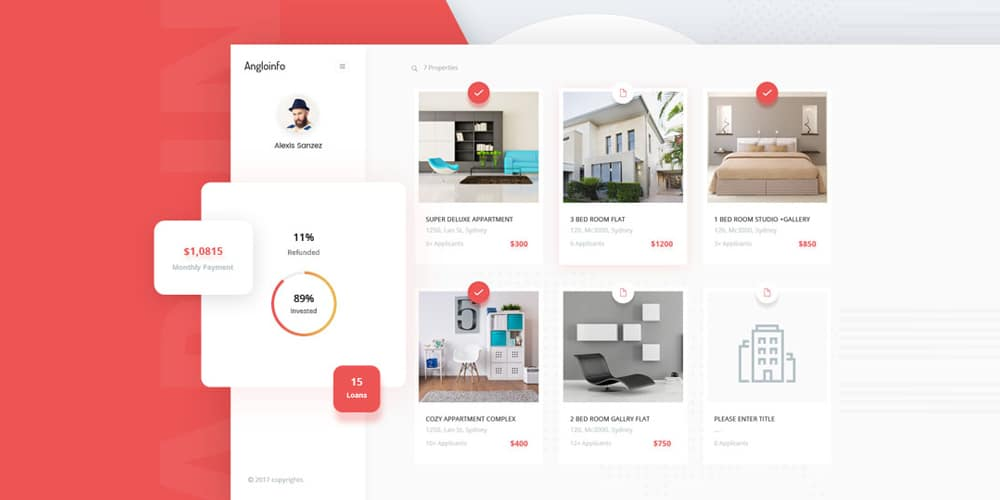 Real Estate Dashboard PSD